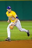 Austin Nola #36 of the LSU Tigers takes ground balls at shortstop during fielding practice prior to the game against the Wake Forest Demon Deacons at Alex Box Stadium on February 18, 2011 in Baton Rouge, Louisiana.  The Tigers defeated the Demon Deacons 15-4.  Photo by Brian Westerholt / Four Seam Images