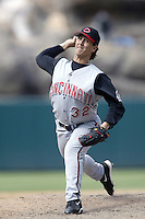 Danny Graves of the Cincinnati Reds pitches during a 2002 MLB season game against the Los Angeles Angels at Angel Stadium, in Anaheim, California. (Larry Goren/Four Seam Images)