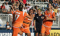 Sky Blue midfielder, Francielle (24), celebrates her game winning goal with teammates Keeley Dowling (17) and Yael Averbuch.  Sky Blue defeated the Freedom 2-1 in the first WPS playoff game at the Soccerplex in Boyds, Maryland.