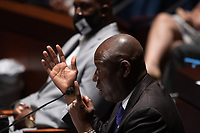"""Benjamin Crump, civil rights attorney representing George Floyds family, testifies during a House Judiciary Committee hearing on """"Policing Practices and Law Enforcement Accountability"""", on Capitol Hill, in Washington D.C., Wednesday, June 10, 2020.<br /> Credit: Graeme Jennings / Pool via CNP/AdMedia"""