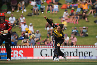 Thamsyn Newton bowls during the Dream11 Super Smash T20 women's cricket final between Wellington Blaze and Canterbury Magicians at the Basin Reserve in Wellington, New Zealand on Saturday, 13 February 2021. Photo: Dave Lintott / lintottphoto.co.nz
