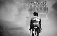 Jerome Baugnies (BEL/Wanty-Groupe Gobert) stuck in the dust of the team cars after being dropped<br /> <br /> 33th Tro Bro Léon 2016