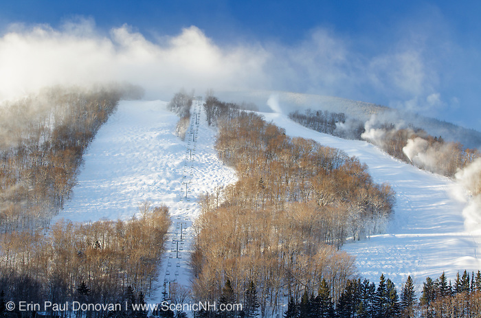 Franconia Notch State Park - Snow making at Cannon Mountains Ski area in the White Mountains, New Hampshire.