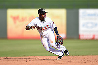Peoria Javelinas shortstop Francisco Lindor (12) during an Arizona Fall League game against the Mesa Solar Sox on October 15, 2014 at Surprise Stadium in Surprise, Arizona.  Mesa defeated Peoria 5-2.  (Mike Janes/Four Seam Images)