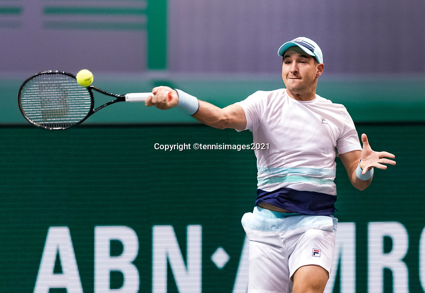 Rotterdam, The Netherlands, 4 march  2021, ABNAMRO World Tennis Tournament, Ahoy, Second round singles: Second round singles: Dusan Lajovic (SRB). Photo: www.tennisimages.com/