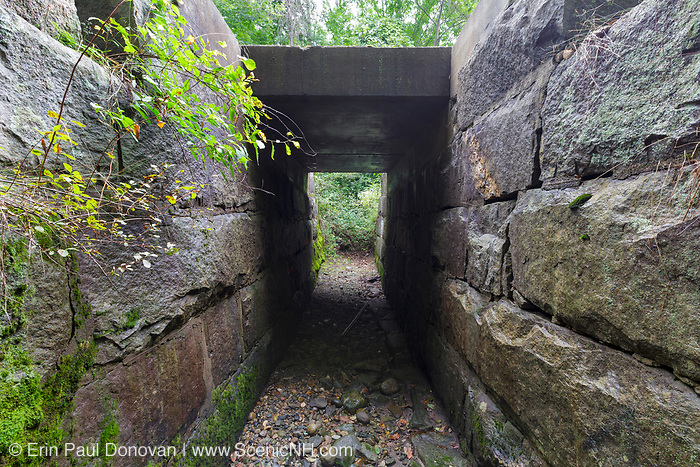 Granite culvert, near today's Common Man Inn & Spa, along the old Pemigewasset Valley Railroad in Plymouth, New Hampshire. Eventually leased to the Boston & Maine Railroad in 1895, the Pemigewasset Valley Railroad connected Plymouth to North Woodstock.