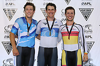Ethan Mitchell, Sam Webster and Bradly Knipe after competing in the Elite Men Sprint during the 2020 Vantage Elite and U19 Track Cycling National Championships at the Avantidrome in Cambridge, New Zealand on Friday, 24 January 2020. ( Mandatory Photo Credit: Dianne Manson )