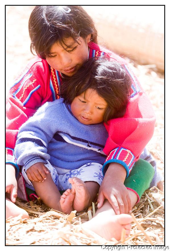 Bolivie<br /> Lac Titicaca<br /> Ile de paille des Indiens Uros.