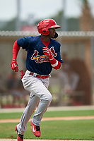 GCL Cardinals Franklin Soto (5) runs to first base during a Gulf Coast League game against the GCL Marlins on August 12, 2019 at the Roger Dean Chevrolet Stadium Complex in Jupiter, Florida.  GCL Marlins defeated the GCL Cardinals 9-2.  (Mike Janes/Four Seam Images)