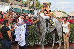 HALLANDALE BEACH, FL -DECEMBER 03:    #6 Spectacular Me (KY) with jockey Jose Ortiz in the winners' circle of the  $110K Claiming Crown Distaff Dash  Stakes at Gulfstream Park on December 03, 2016 in Hallandale Beach, Florida. (Photo by Liz Lamont/Eclipse Sportswire/Getty Images)