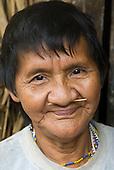 Xingu, Pará State, Brazil. Aldeia Laranjal (Arara). Tipí Arara with her nose sticks.