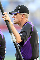 Colorado Rockies manager Jim Tracy #4 before a game against the Los Angeles Dodgers at Dodger Stadium on July 26, 2011 in Los Angeles,California. Los Angeles defeated Colorado 3-2.(Larry Goren/Four Seam Images)