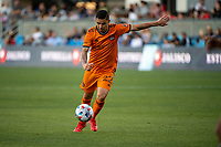 SAN JOSE, CA - JULY 24: Matias Vera #22 of the Houston Dynamo dribbles the ball during a game between San Jose Earthquakes and Houston Dynamo at PayPal Park on July 24, 2021 in San Jose, California.