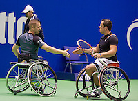 December 20, 2014, Rotterdam, Topsport Centrum, Lotto NK Tennis, Mens doubles wheelchair final, Tom Egberink (R) with his partner Maikel Scheffers<br /> Photo: Tennisimages/Henk Koster