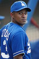 Cesar Izturis of the Los Angeles Dodgers before a 2002 MLB season game at Dodger Stadium, in Los Angeles, California. (Larry Goren/Four Seam Images)