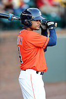Center fielder Jason Martin (4) of the Greeneville Astros in a game against the Bristol Pirates on Friday, July 25, 2014, at Pioneer Park in Greeneville, Tennessee. Greeneville won, 9-4. (Tom Priddy/Four Seam Images)