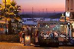 Portugal, Algarve, Alvor: Fish Restaurants by the harbour in the evening