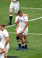 Jamie Blamire (Newcastle Falcons) of England after scoring the 1st try during the Autumn International match between England and Canada at Twickenham Stadium, London, England on 10 July 2021. Photo by Liam McAvoy.