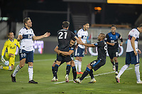 SAN JOSE, CA - OCTOBER 07: Andres Rios #25 of the San Jose Earthquakes celebrates a goal with his teammates Carlos Fiero #21 and Judson #93 during a game between Vancouver Whitecaps and San Jose Earthquakes at Eathquakes Stadium on October 07, 2020 in San Jose, California.