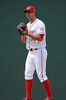 Pitcher Reed Reilly (33) of the Greenville Drive delivers a pitch in a game against the Hagerstorn Suns on May 12, 2015, at Fluor Field at the West End in Greenville, South Carolina. Greenville won, 4-0. (Tom Priddy/Four Seam Images)