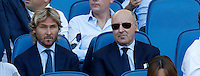 Calcio, Serie A: Lazio vs Juventus. Roma, stadio Olimpico, 27 agosto 2016.<br /> Juventus deputy president Pavel Nedved, left, and CEO Giuseppe Marotta sit on the stand on the occasion of the Serie A soccer match between Lazio and Juventus, at Rome's Olympic stadium, 27 August 2016. Juventus won 1-0.<br /> UPDATE IMAGES PRESS/Isabella Bonotto