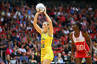 Australia's Susan Pratley takes a shot at goal against England in the New World Quad series netball match, TECT Arena, Tauranga, New Zealand, Sunday, October 28, 2012. Credit:NINZ / Dianne Manson.