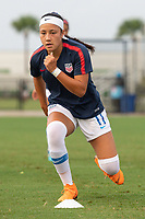 Lakewood Ranch, FL - Wednesday, October 10, 2018:   Maya Doms warms up prior to a U-17 USWNT match against Colombia.  The U-17 USWNT defeated Colombia 4-1.