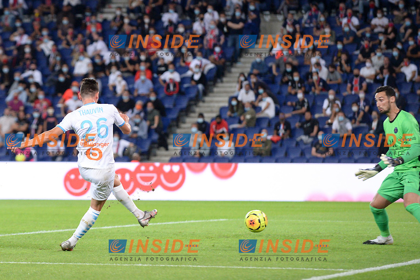 26 FLORIAN THAUVIN (OM) - BUT<br /> 12/02/2014<br /> Paris Saint Germain PSG vs Olympique Marseille OM <br /> Calcio Ligue 1 2020/2021  <br /> Foto Philippe Lecoeur Panoramic/insidefoto <br /> ITALY ONLY