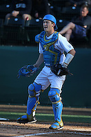 Jake Hirabayashi (28) of the UCLA Bruins during a game against the North Carolina Tar Heels at Jackie Robinson Stadium on February 20, 2016 in Los Angeles, California. UCLA defeated North Carolina, 6-5. (Larry Goren/Four Seam Images)