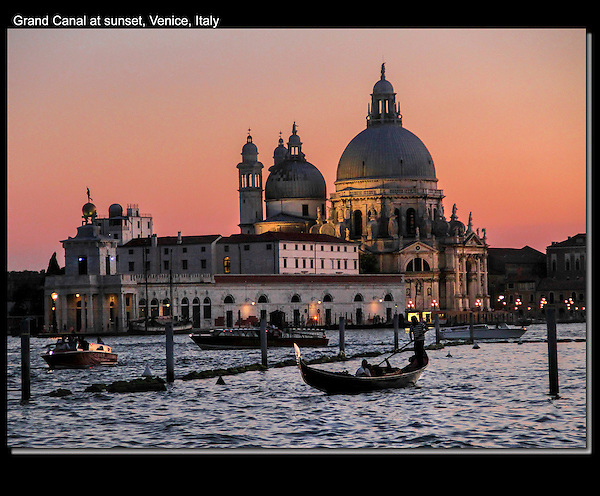 Italy, Venice.  <br /> After I decided where to stand, I just waited for the gondola to behave, and for all the other boats to be well-defined. Bascillica and gondolier on Grand Canal at sunset. <br /> John Kieffer teaches low-light and night photography workshops.