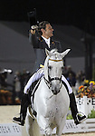 Juan Manuel Munoz Diaz and Fuego XII of Spain perform their Freestyle Dressage in the Grand Prix Freestyle Dressage competition at the Alltech World Equestrian Games in Lexington, Kentucky.