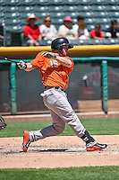 Robbie Grossman (15) of the Fresno Grizzlies at bat against the Salt Lake Bees in Pacific Coast League action at Smith's Ballpark on June 14, 2015 in Salt Lake City, Utah.  (Stephen Smith/Four Seam Images)