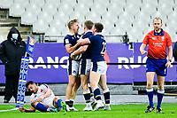 26th March 2021, Stade de France, Saint-Denis, France; Guinness 6-Nations international rugby, France versus Scotland;  Te Scottish players celebrte the winning try from Duhan Van Der Merwe (Sco)