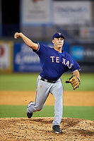 Pitcher Luca Dalatri (20) of Christian Brothers Academy in Wall, New Jersey playing for the Texas Rangers scout team during the East Coast Pro Showcase on July 28, 2015 at George M. Steinbrenner Field in Tampa, Florida.  (Mike Janes/Four Seam Images)