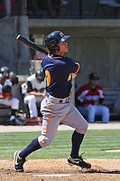 Drew Anderson #9 of the Montgomery Biscuits batting during a game against the Carolina Mudcats on April 18, 2010 in Zebulon, NC.