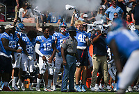 Ole Miss players cheer, Saturday, October 9, 2021 during the third quarter of a football game at Vaught Hemingway Stadium in Oxford, Miss. Check out nwaonline.com/211010Daily/ for today's photo gallery. <br /> (NWA Democrat-Gazette/Charlie Kaijo)