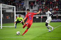 WASHINGTON, D.C. - OCTOBER 11: Daniel Lovitz #5 of the United States centers a ball during their Nations League game versus Cuba at Audi Field, on October 11, 2019 in Washington D.C.