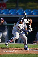 Mahoning Valley Scrappers first baseman Emmanuel Tapia (28) at bat during a game against the Auburn Doubledays on June 19, 2016 at Falcon Park in Auburn, New York.  Mahoning Valley defeated Auburn 14-3.  (Mike Janes/Four Seam Images)