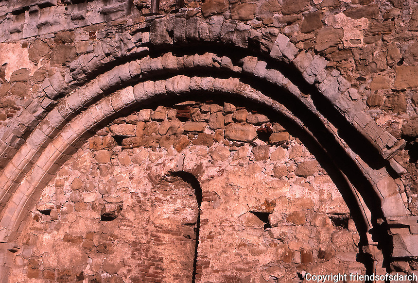 San Juan Capistrano Mission--arch and brickwork. Photo April 1988.