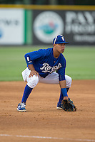 Burlington Royals third baseman Angelo Castellano (13) on defense against the Danville Braves at Burlington Athletic Park on July 12, 2015 in Burlington, North Carolina.  The Royals defeated the Braves 9-3. (Brian Westerholt/Four Seam Images)