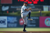 Rome Braves starting pitcher Dilmer Mejia (51) in action against the Kannapolis Intimidators at Kannapolis Intimidators Stadium on July 2, 2019 in Kannapolis, North Carolina.  The Intimidators walked-off the Braves 5-4. (Brian Westerholt/Four Seam Images)