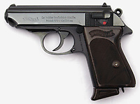 Pictured: A Walther PPK series pistol (STOCK PICTURE)<br /> Re:  A man who took a replica 'James Bond' pistol into a pub is due to be sentenced today (Fri 18 Jan 2019) at Swansea Crown Court.<br /> A scuffle broke out in Red Lion pub in Cardigan, west Wales on the evening of April 2, 2018 when a customer saw the imitation weapon in the waistband of Fraser Daniel Rees' trousers and tried to disarm him.<br /> Rees claimed it was intended as a prop for his mother's amateur theatre production.<br /> Rees denied possession of an imitation firearm in a public place – saying he had a reasonable excuse for having it with him and in any case had lawful authority to carry it – but was found guilty following a Swansea Crown Court trial.<br /> The gun was a replica of a Walther PPK, the handgun made famous by actors Sean Connery and Roger Moore as James Bond.