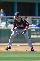 Lake Elsinore Storm third baseman Hudson Potts (15) on defense against the Rancho Cucamonga Quakes at LoanMart Field on May 28, 2018 in Rancho Cucamonga, California. The Storm defeated the Quakes 8-5.  (Donn Parris/Four Seam Images)