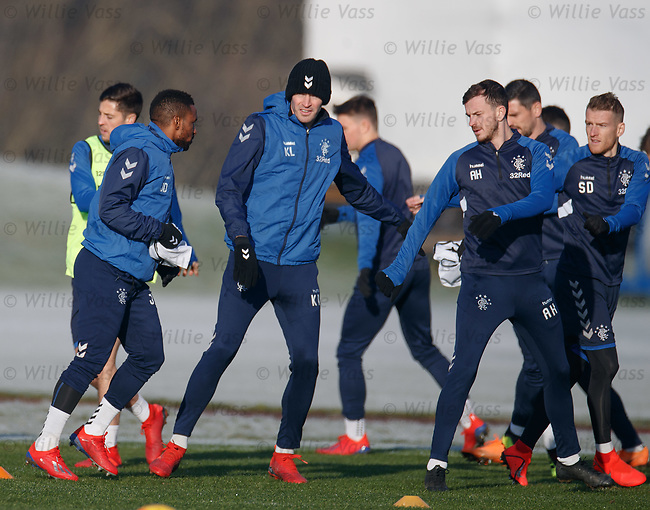 01.02.2019: Rangers training: Jermain Defoe, Kyle Lafferty and Andy Halliday