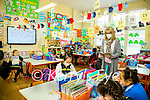 Teacher Anne Dillon with pupils back in the classroom at Presentation primary school Tralee on Monday
