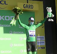 3rd September 2020; Le Teil to Mont Aigoual , France. Tour de France cycling tour, stage 6; Deceuninck - Quick Step Bennett, Sam Mont Aigoual ono the podium