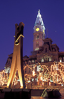 City Hall, Philadelphia, clothespin, Pennsylvania, PA, The Clothespin statue outside City Hall at Center Square decorated for the Christmas holidays in downtown Philadelphia in the evening.