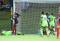 Boyds, MD - Wednesday Sept. 07, 2016: Merritt Mathias, Cheyna Williams celebrates scoring, Haley Kopmeyer during a regular season National Women's Soccer League (NWSL) match between the Washington Spirit and the Seattle Reign FC at Maureen Hendricks Field, Maryland SoccerPlex.