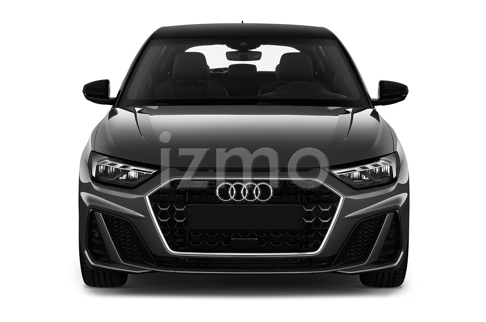 Car photography straight front view of a 2019 Audi A1-Sportback S-Line 5 Door Hatchback Front View