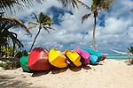 Canoes on beach in Rarotonga, Cook Islands